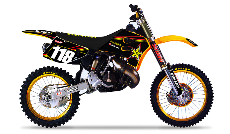1993 1995 suzuki rm 125 250 team rockstar dirt bike graphics kit by enjoy mfg ebay. Black Bedroom Furniture Sets. Home Design Ideas