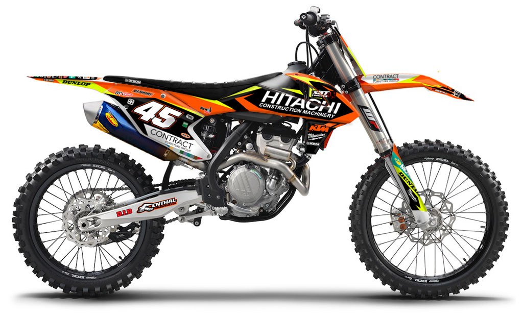 2016 2017 ktm sx sxf 125 450 team hitachi motocross graphics dirt bike graphic ebay. Black Bedroom Furniture Sets. Home Design Ideas