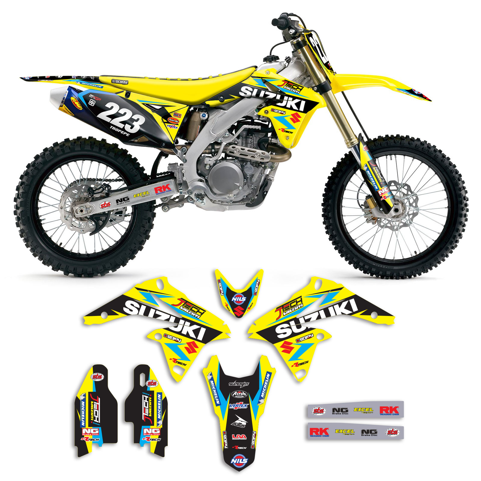 2010 2017 suzuki rmz 250 team jtech motocross graphics kit. Black Bedroom Furniture Sets. Home Design Ideas